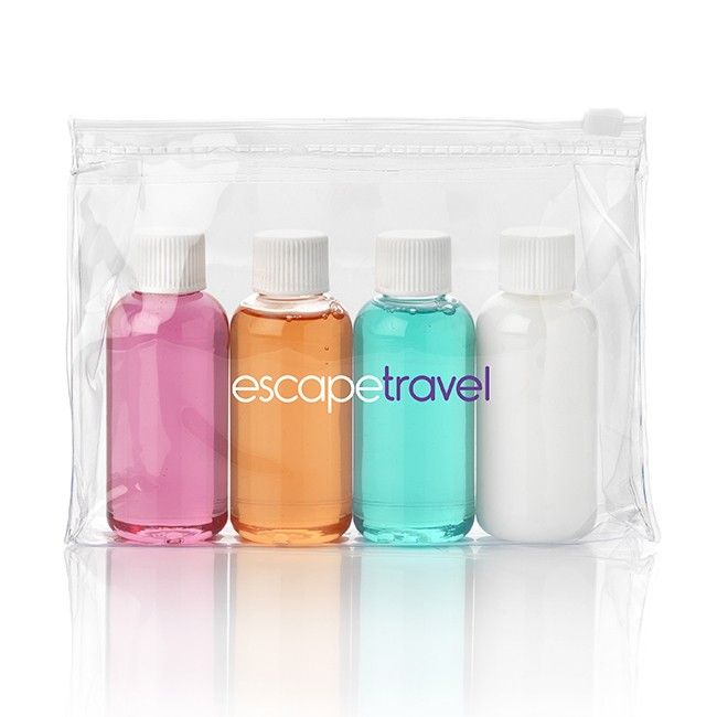 Doorschijnende weekend travel pouch met mini flesjes