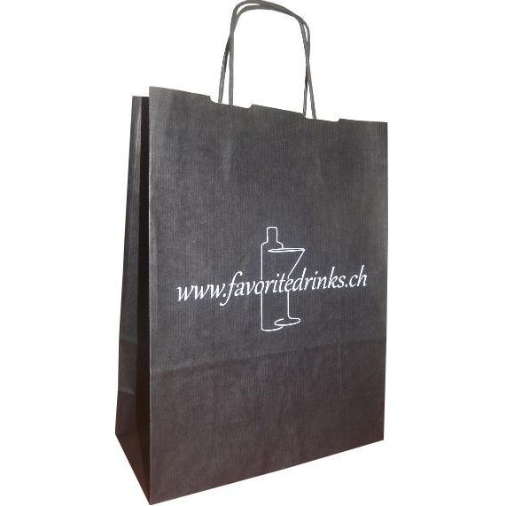 Geribbelde papieren zak met gedraaide handvaten